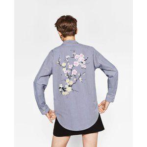 Zara Striped Cherry Blossom Button Down Shirt
